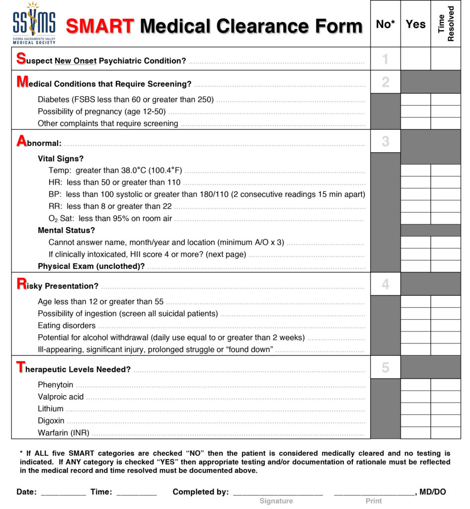 SMART Medical Clearance Complete 12.30.15